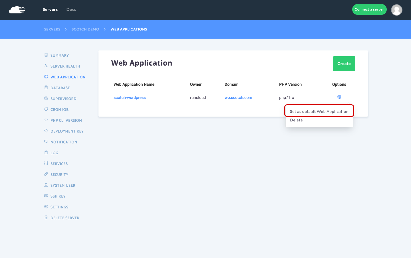 Set web application as default