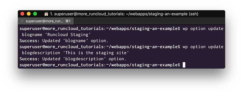 Update your Staging Site TItle with WP-CLI
