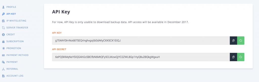 RunCloud API key