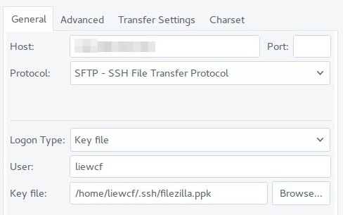 FileZilla SFTP via SSH key