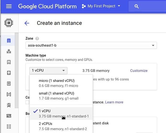 GCP create vm instance