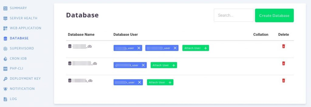 RunCloud database user list