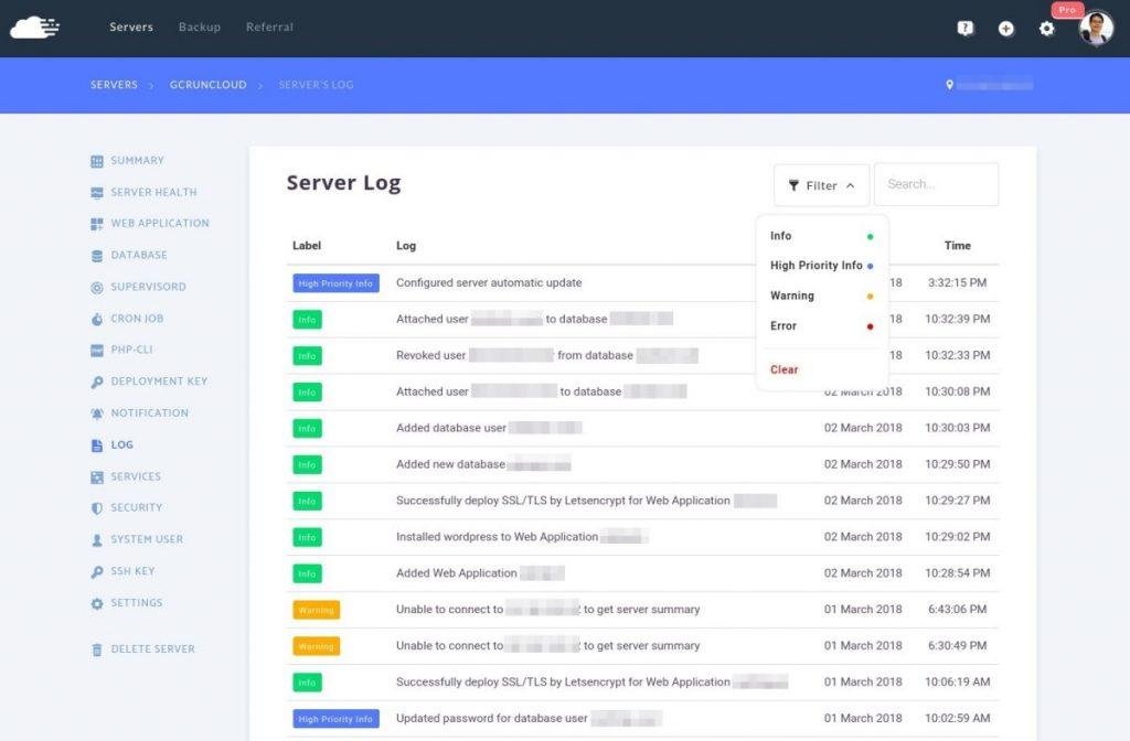 RunCloud Server Log Filter