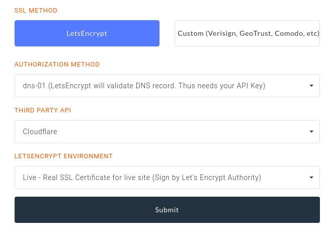 RunCloud wildcard ssl certificate