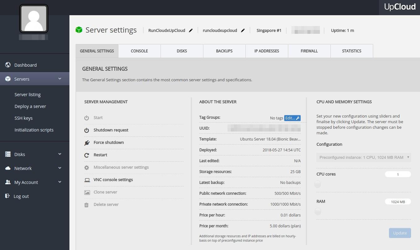 UpCloud server control panel