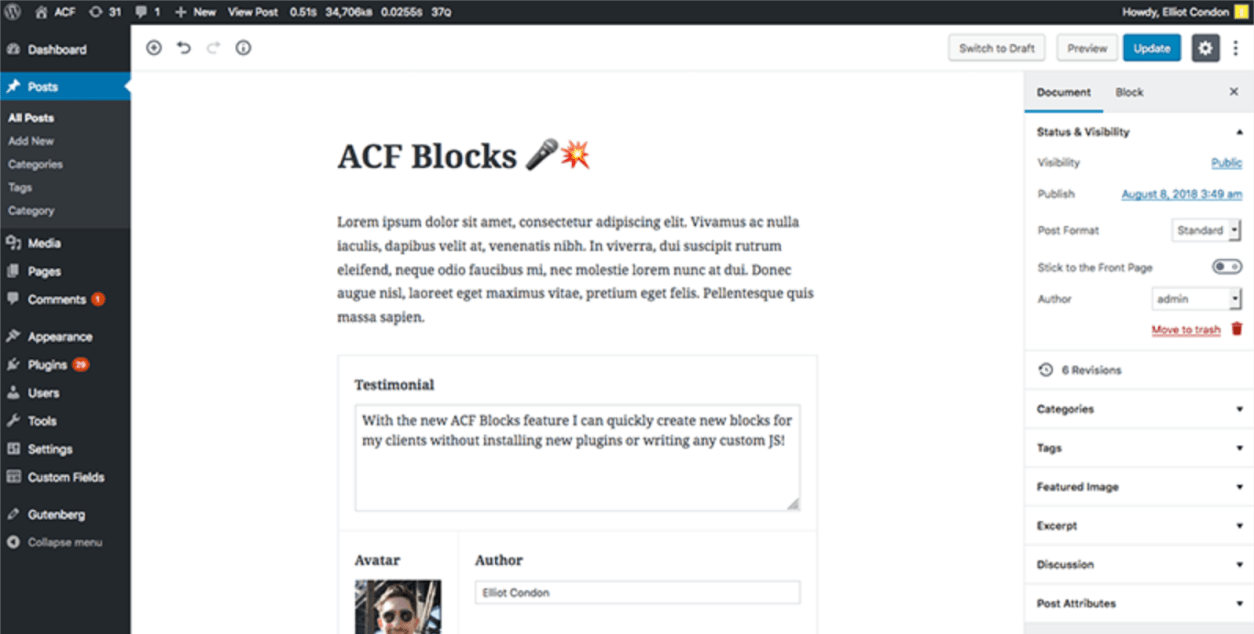 Advanced Custom Fields to Add Gutenberg Compatibility and ACF Blocks