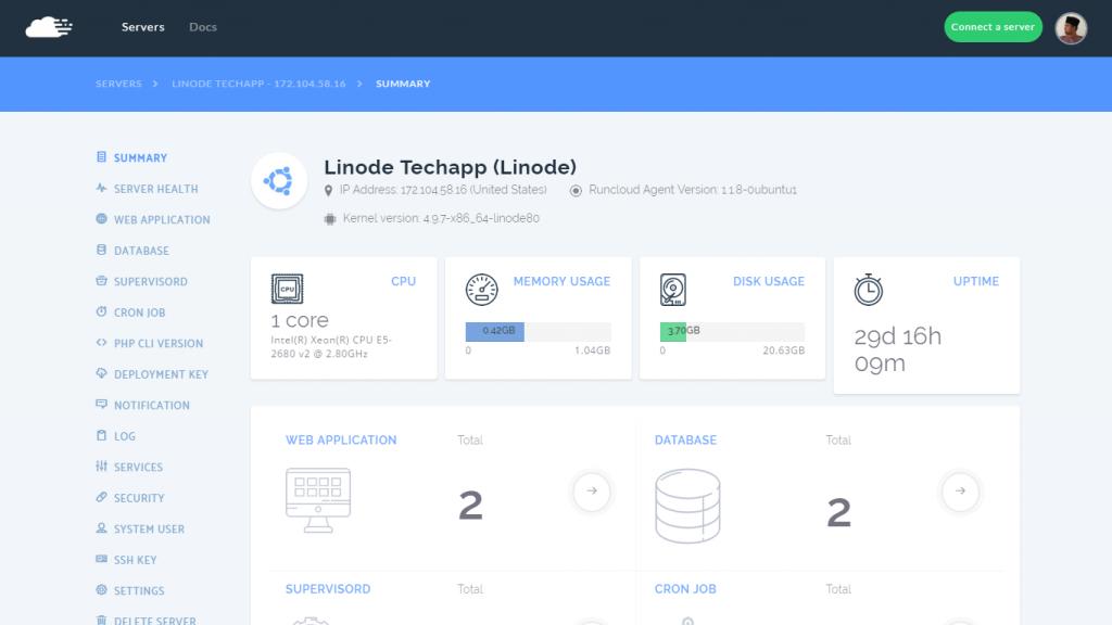 RunCloud UI