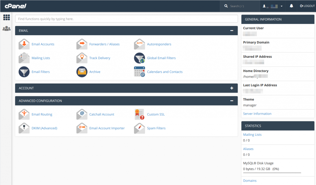 MXroute cPanel user interface