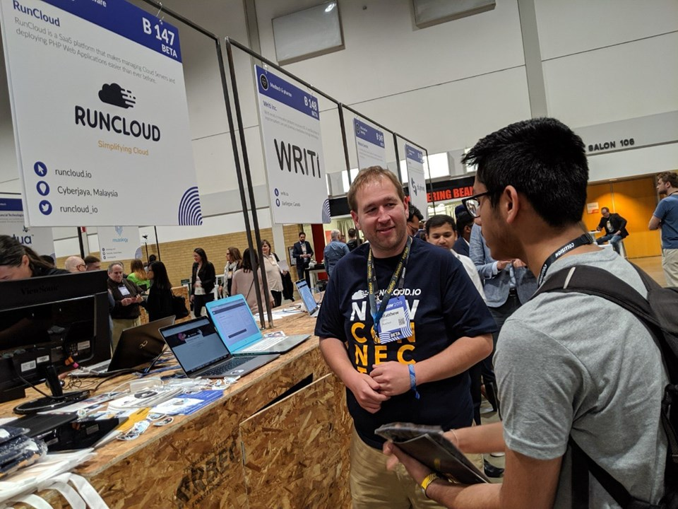 Matthew Gates talking at CollisionConf 2019 on behalf of RunCloud