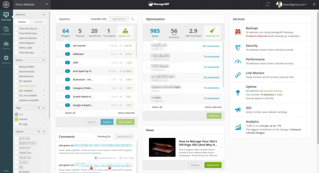 ManageWP wordpress management tool