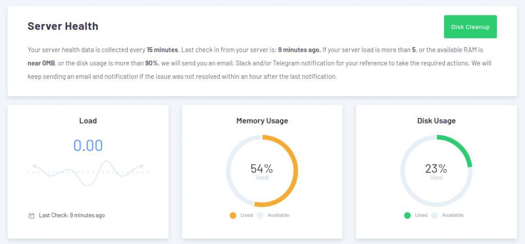 RunCloud dashboard server health