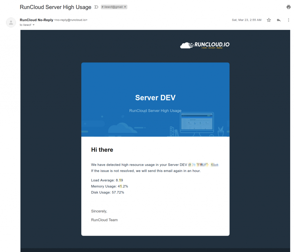 RunCloud Server High Usage email