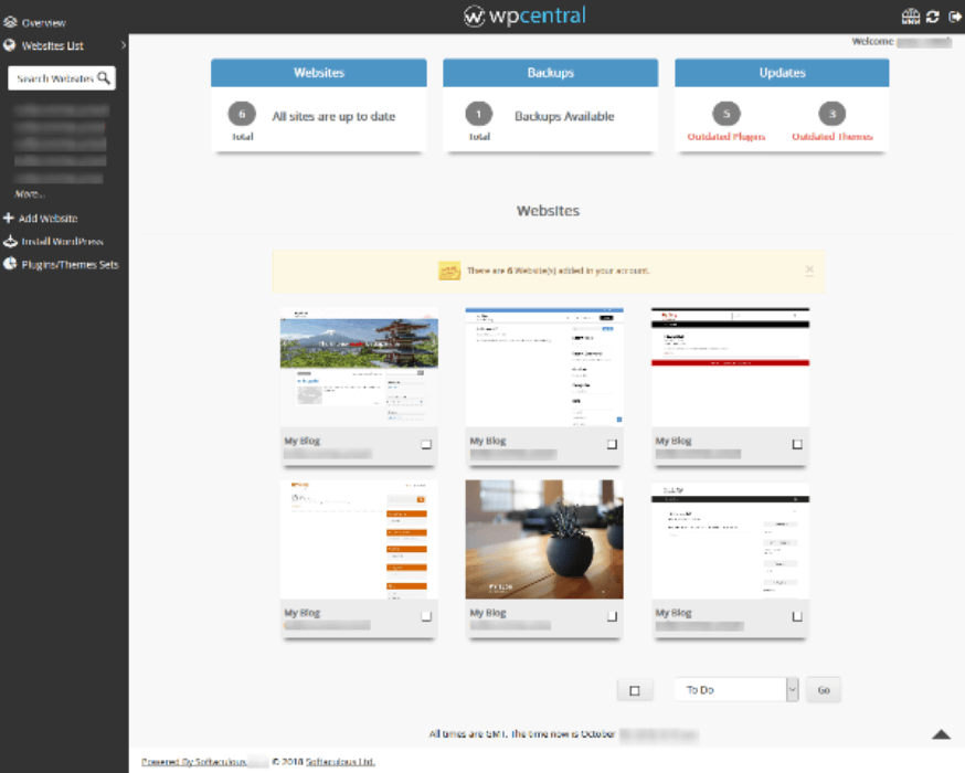 wpcentral wordpress management tool