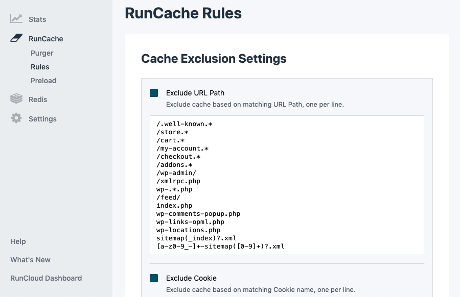 RunCache Exclusion - RunCloud Hub WordPress Plugin