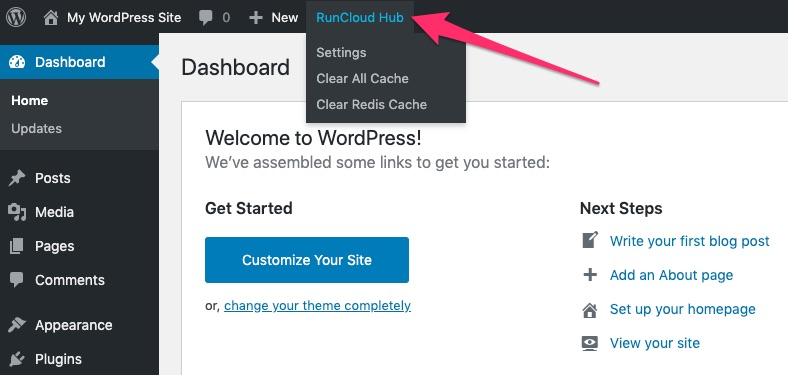 Dashboard Admin Bar Menu - RunCloud Hub WordPress Plugin