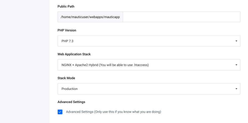 runcloud-mautic-03-php73-version-advanced-settings