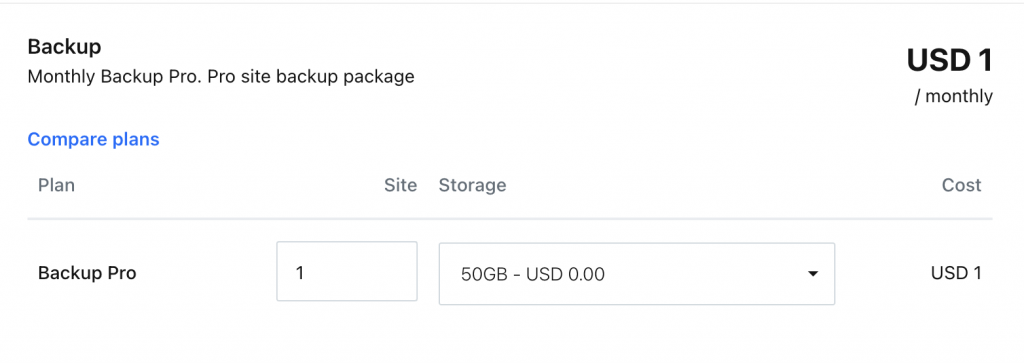 RunCloud Backup Pricing