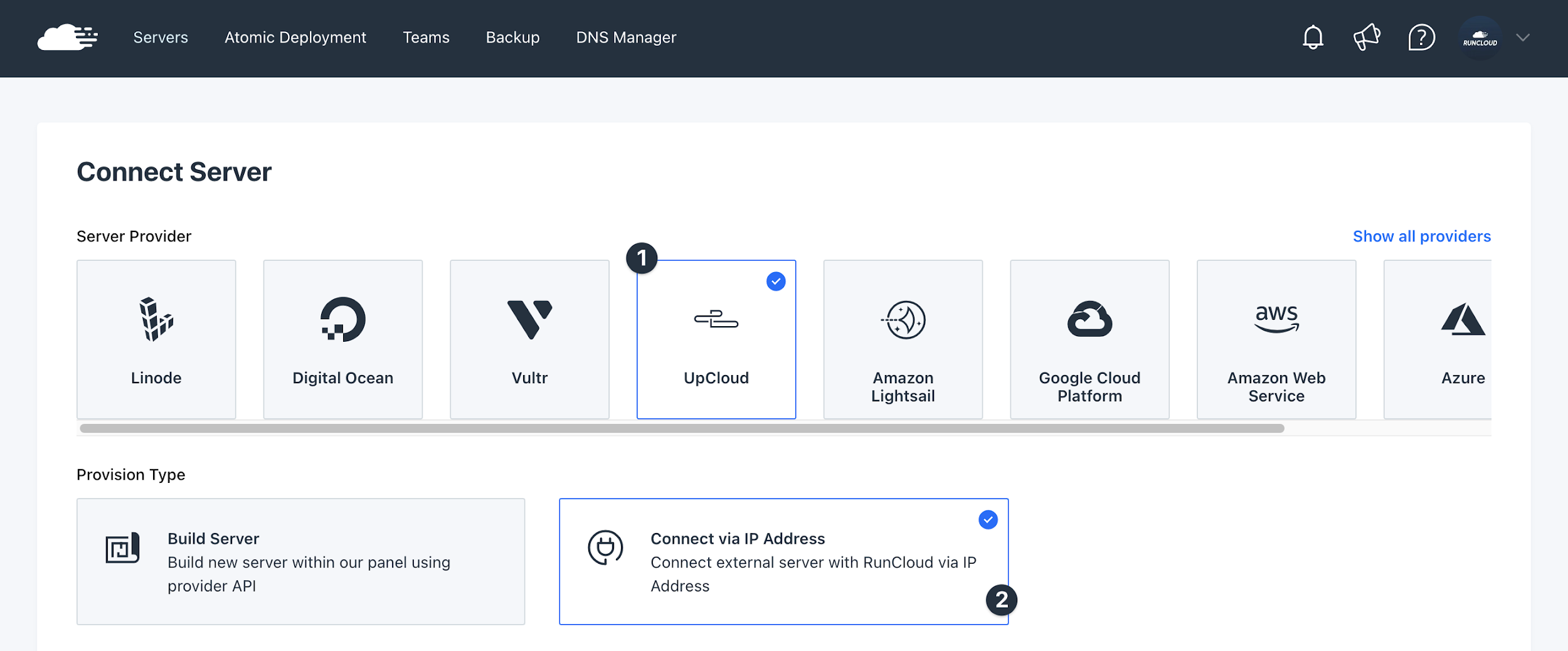 Select Server Provider UpCloud