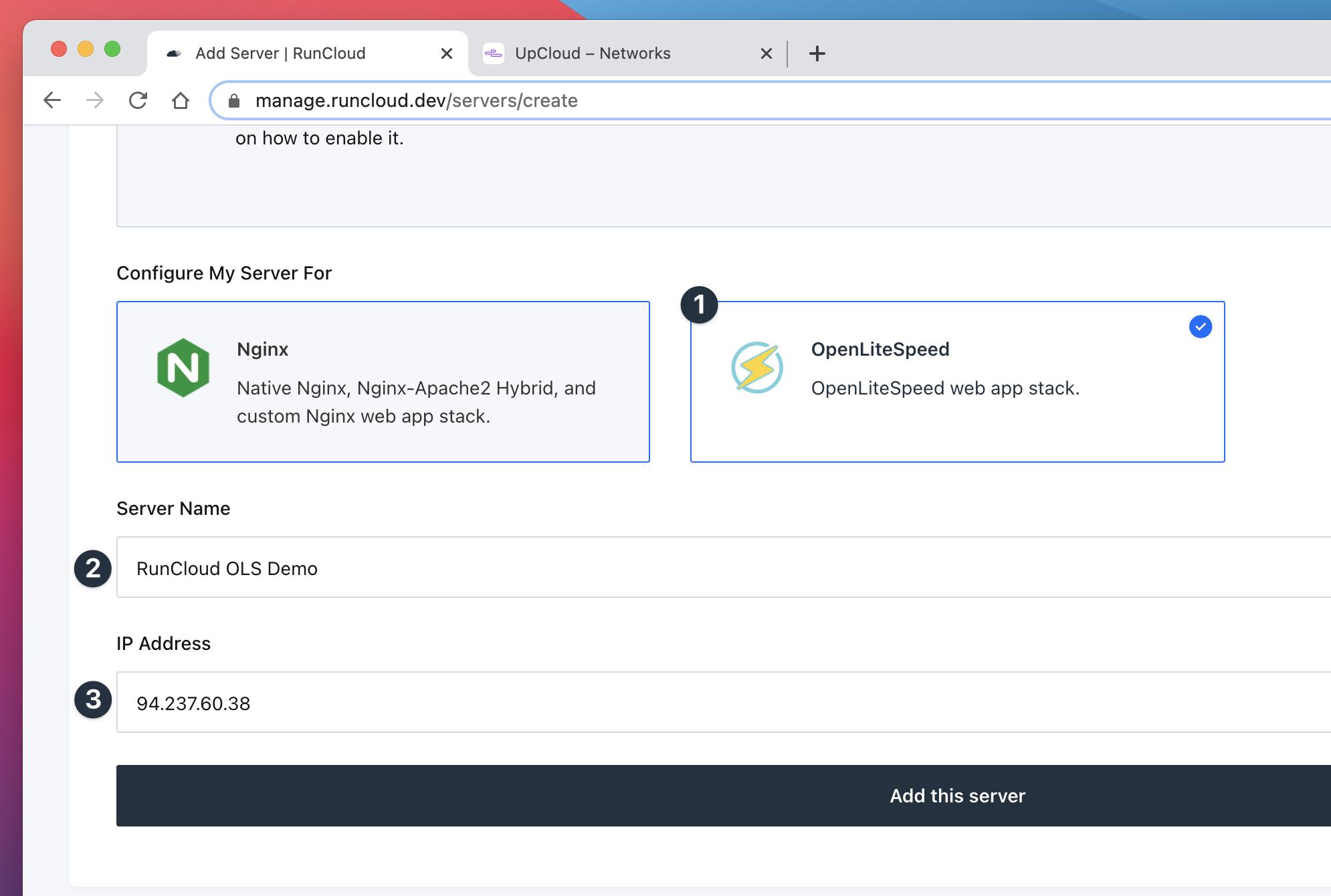 OpenLiteSpeed Server Stack RunCloud