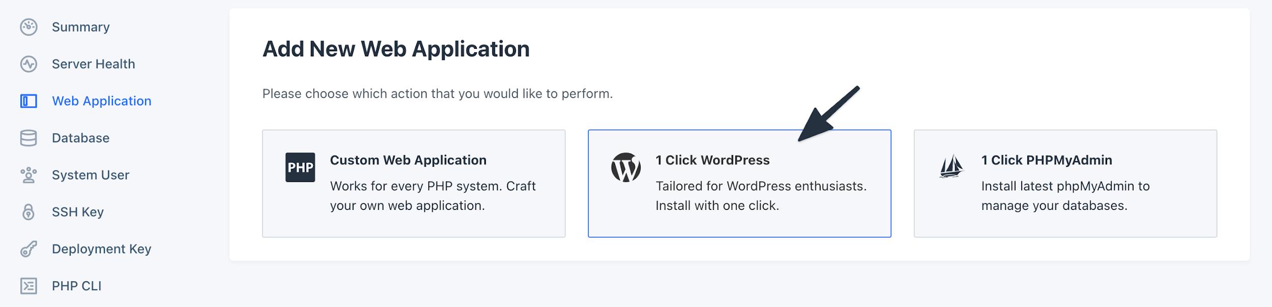1-Click WordPress Installation