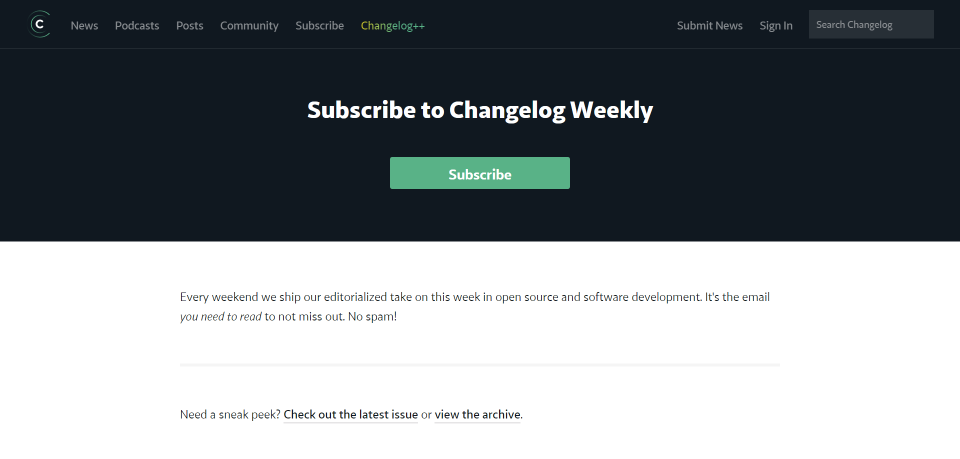 Changelog Weekly signup form