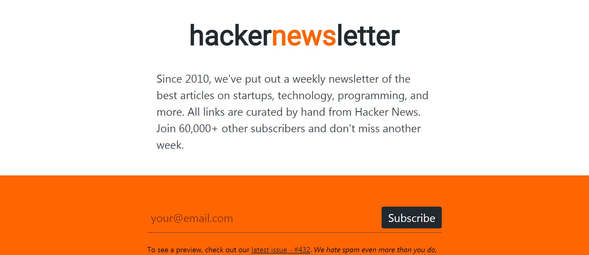 hackernewsletter signup form