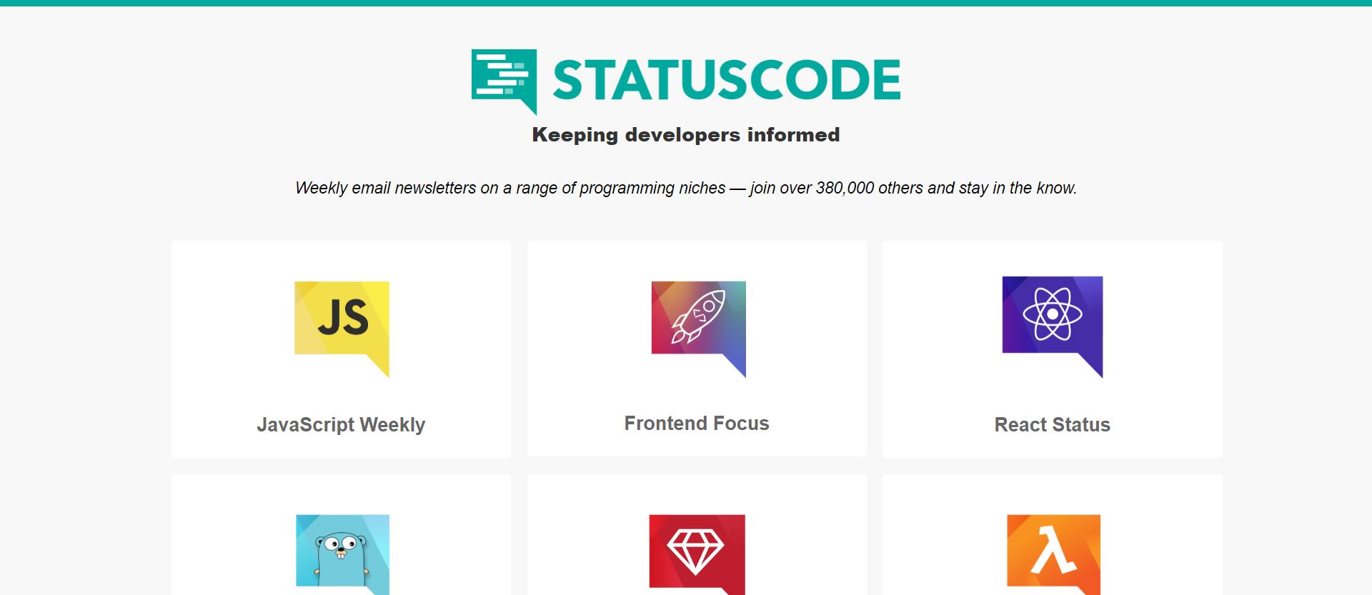 list of statuscode newsletters