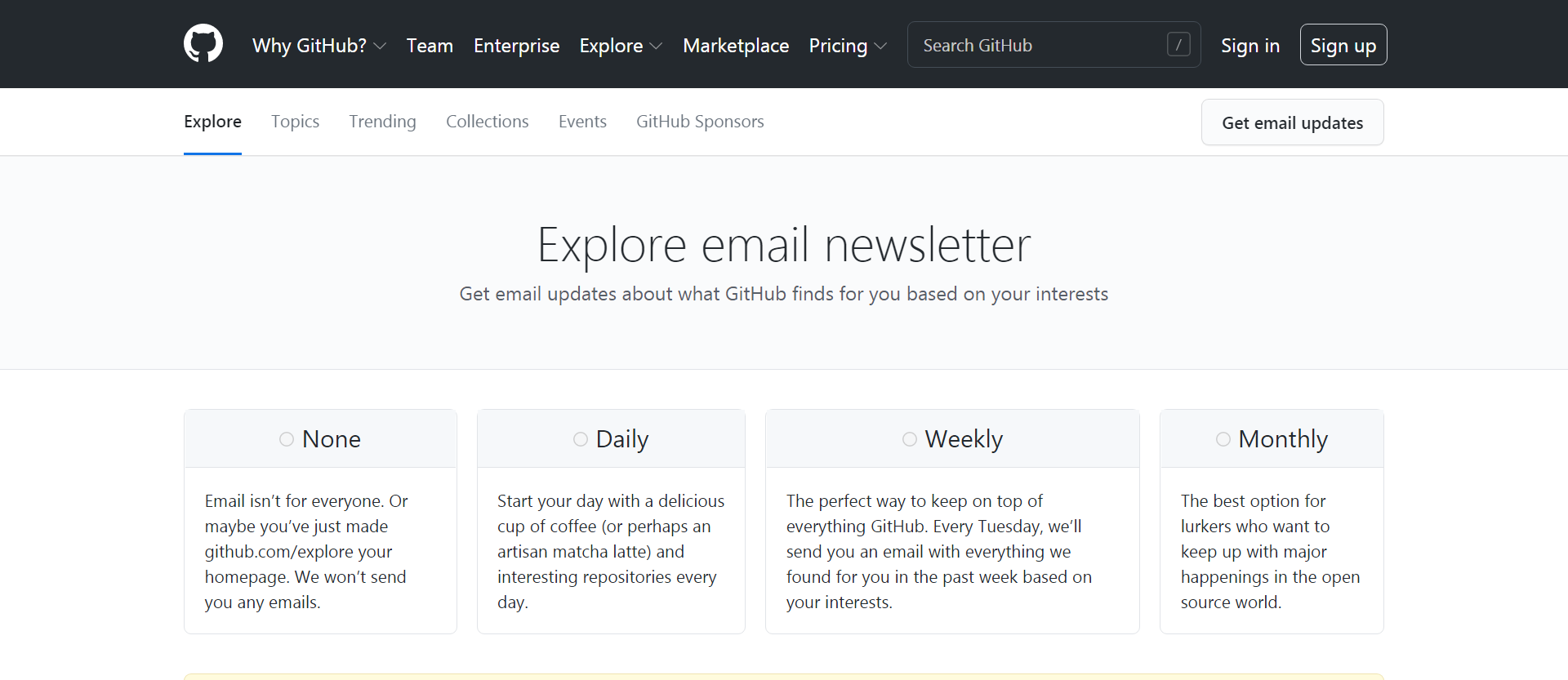 GitHub Explore newsletter signup