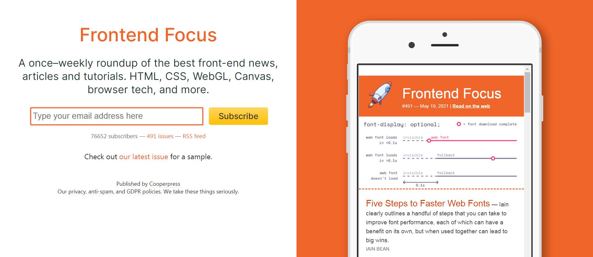 Frontend Focus newsletter signup