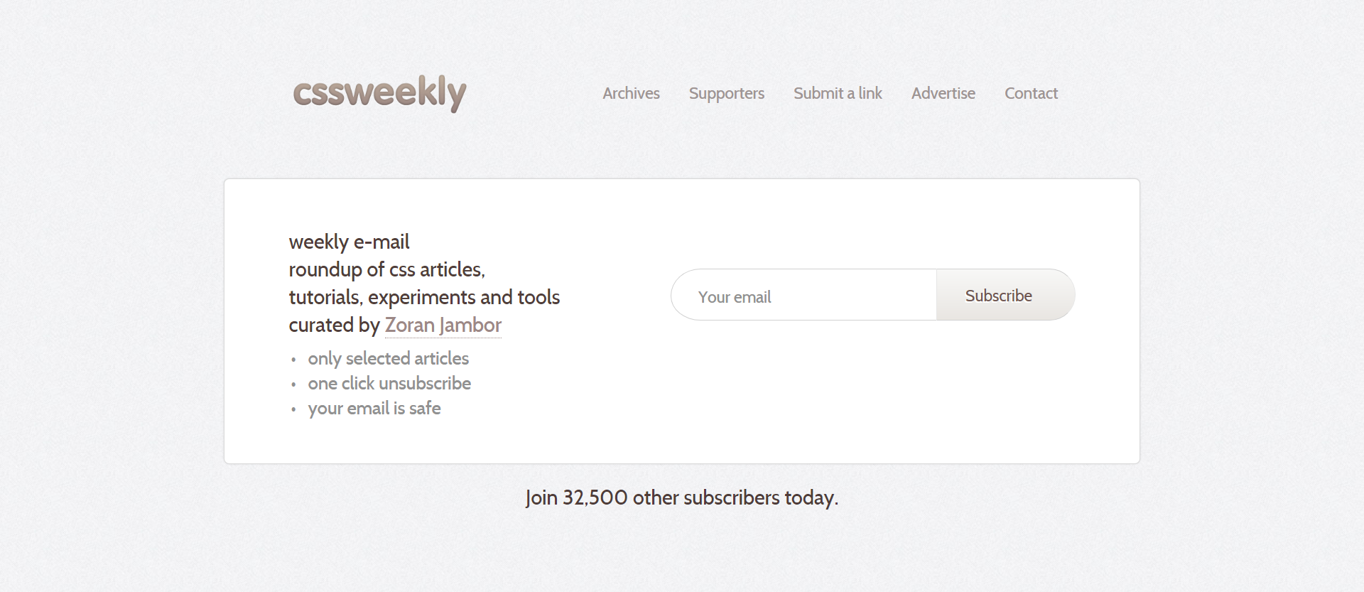 cssweekly newsletter signup