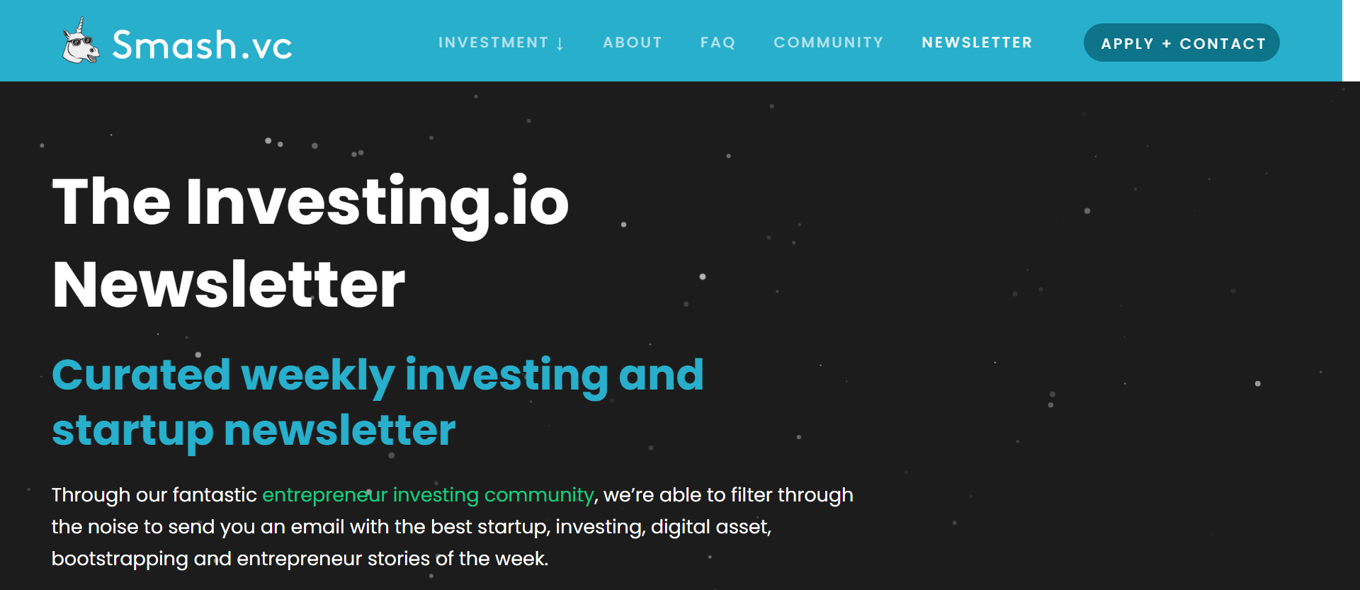 investing.io newsletter from smash.vc