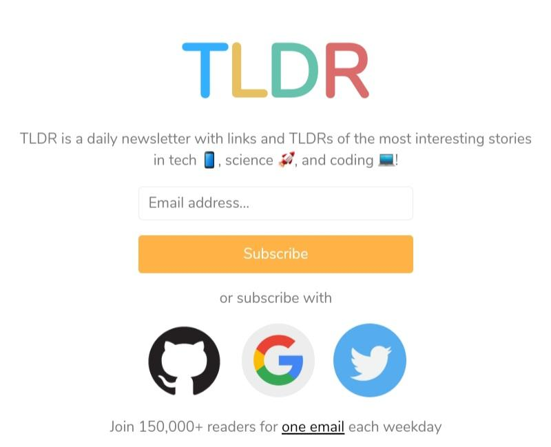 TL;DR newsletter signup form