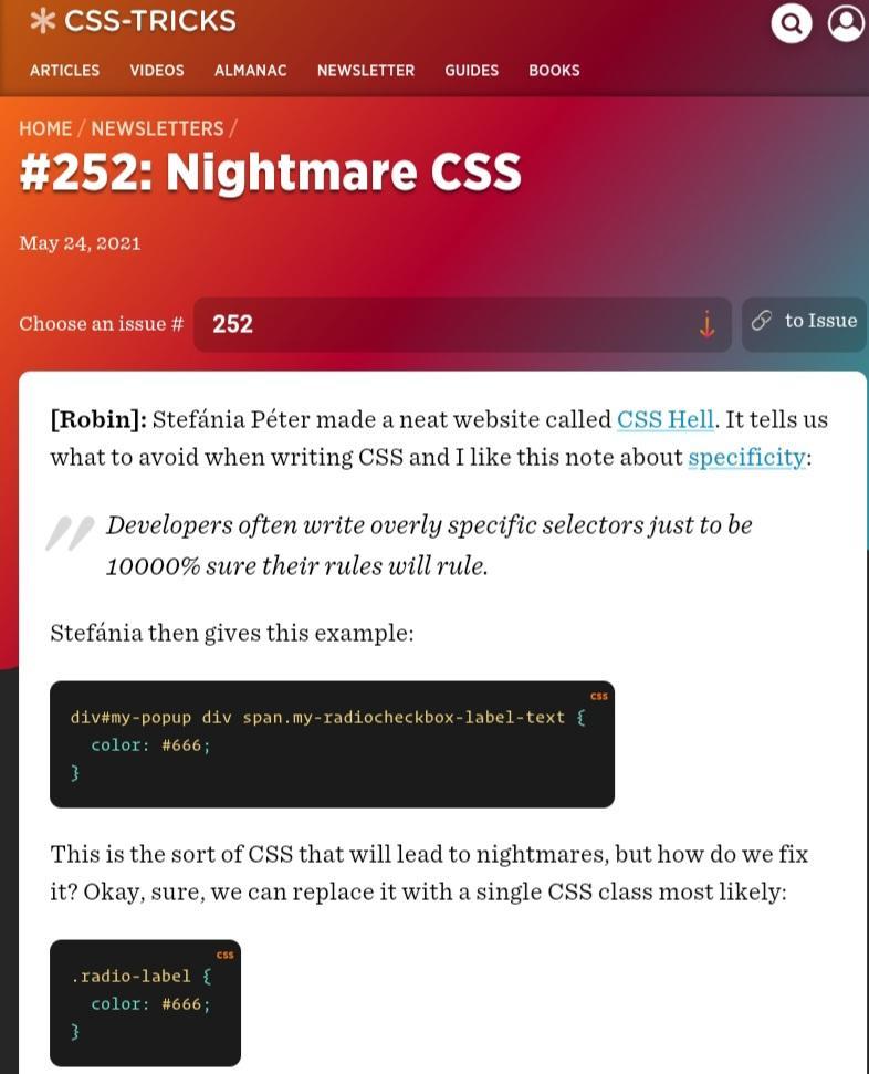 CSS Tricks newsletter