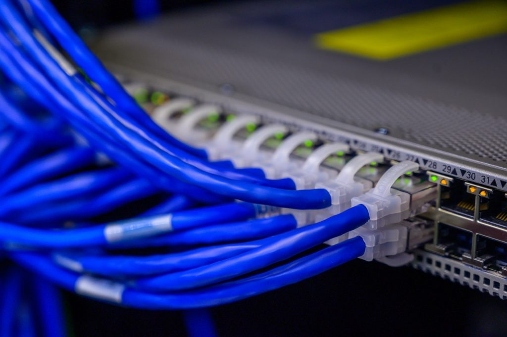 ethernet cables connected to a server