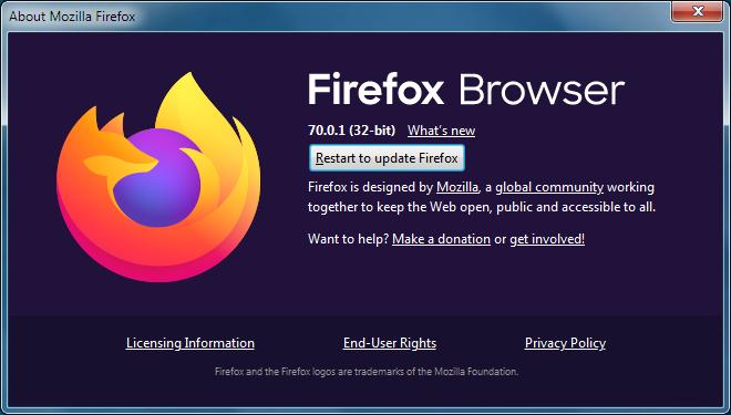 screenshot of firefox updating