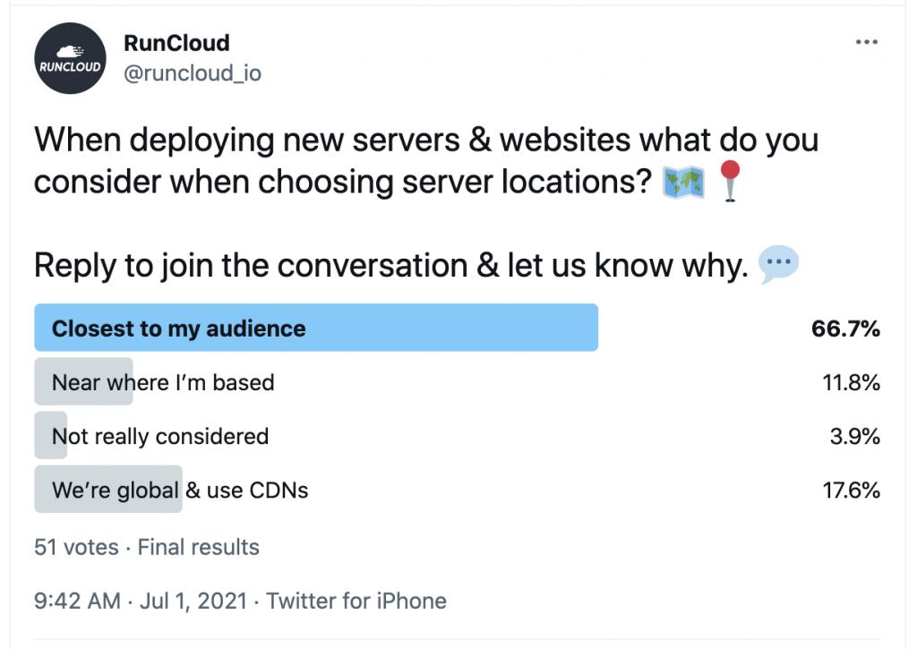 Runcloud Survey on choosing ideal server location