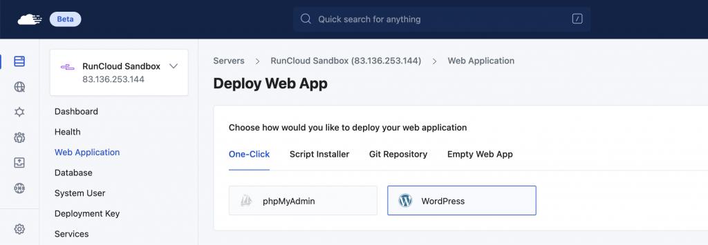 RunCloud Web Application New