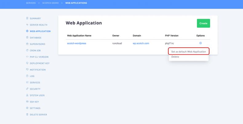 Set web application as default